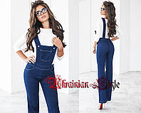 Женский джинсовый брючный  костюм-двойка (комбез и кофта)
