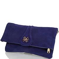 Женская сумка-клатч из качественного кожезаменителя  и натуральной замши ANNA&LI (АННА И ЛИ) TU13784-navy