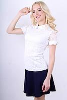 Белая гипюровая блуза с коротким рукавом