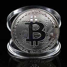 Сувенир Биткоин монета с посеребрением