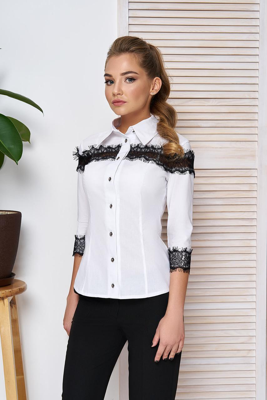 2da0e83779b Блуза белая с черным кружевом 42
