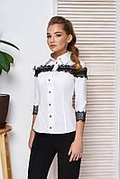 Блуза белая с черным кружевом  42,44,46,48р