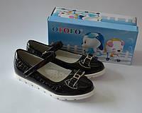 Школьные туфли чёрного цвета для девочки ТМ Yalike.Огого