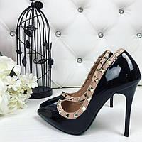 35 и 39 размер! Красивые туфли Valentino на каблуке черные