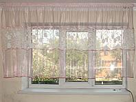 Тюль до подоконника нежно розовая с вставками цветы