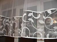 Тюль до подоконника молочные завитки, фото 1