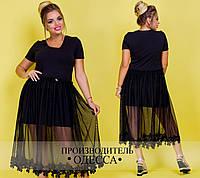 Коктейльное черное женское платье  батал