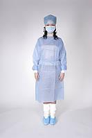 Халат одноразовый медицинский на завязках р.XL (СМС 35г/м2) голубой