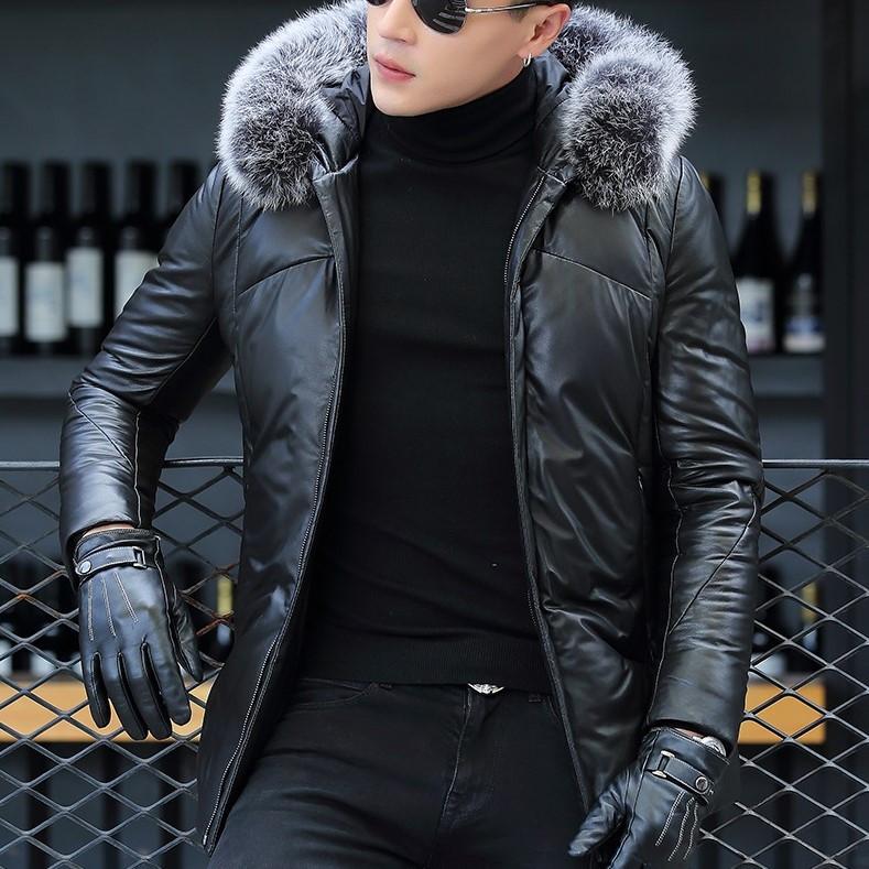 Мужская куртка из натуральной кожи с мехом на капюшоне. Модель 6252.