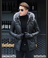 Мужская куртка из натуральной кожи с мехом на капюшоне. Модель 6252., фото 2