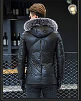 Мужская куртка из натуральной кожи с мехом на капюшоне. Модель 6252., фото 3