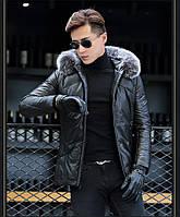 Мужская куртка из натуральной кожи с мехом на капюшоне. Модель 6252., фото 4