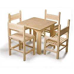 Детский стол и стул сосновый