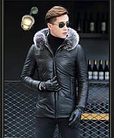 Мужская куртка из натуральной кожи с мехом на капюшоне. Модель 6252., фото 5
