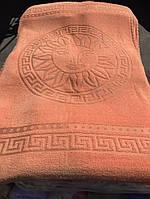 Великолепная махровая (искусственная) простынь-покрывало Versace апельсиновая