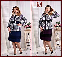 Р.48,50,52,54, 56,58,60, Красивый женский жакет деловой 770577 пиджак больших размеров с цветами батал