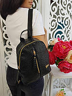 Стильный женский кожаный рюкзак с молнией карманом по центру чёрный, фото 1