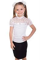 Трикотажная белая нарядная блузка для девочки подростка