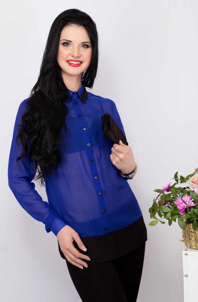 Шифоновая женская блуза с длинным рукавом