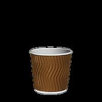 Стакан гофрированный 110мл.(4oz) (25/40/1000) Коричневый