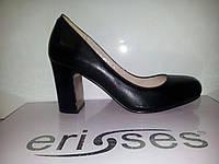Туфли лодочки черная кожа средний каблук