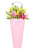 Бумажная сумка для цветов, розовая
