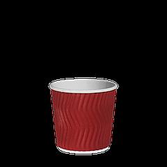 Стакан бумажный гофрированный Эко-гофра Красный 110мл. (4oz) 25шт/уп (1ящ/40уп/1000шт)