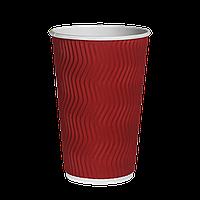 Стакан гофрированный 500мл.(16oz) (25/20/500) (кв90) Красный