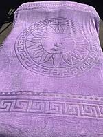 Великолепная махровая простынь Versace лиловая