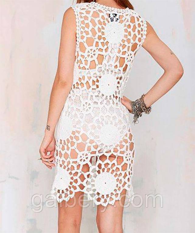 fc885a42570 Вязаное крючком пляжное платье с крупным принтом - Интернет-магазин
