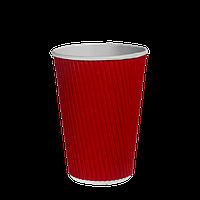 Стакан гофрированный 340мл.(20/28/700) Красный