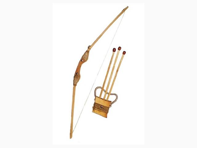 Лук деревянный, 75см. чехол д/стрел + 3 стрелы.//