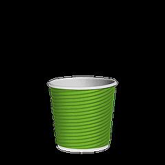 Стакан бумажный гофрированный Эко-гофра Салатовый 110мл. (4oz) 25шт/уп (1ящ/40уп/1000шт)