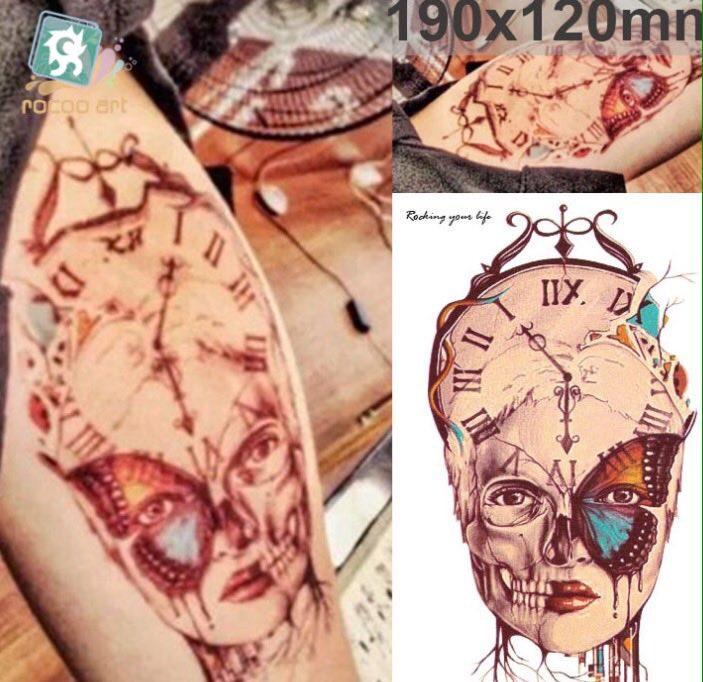 Временный рисунок на тело Флеш тату Часы