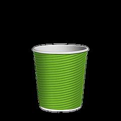 Стакан бумажный гофрированный Эко-гофра Салатовый 175мл. (7oz) 25шт/уп (1ящ/20уп/500шт) (КР72)