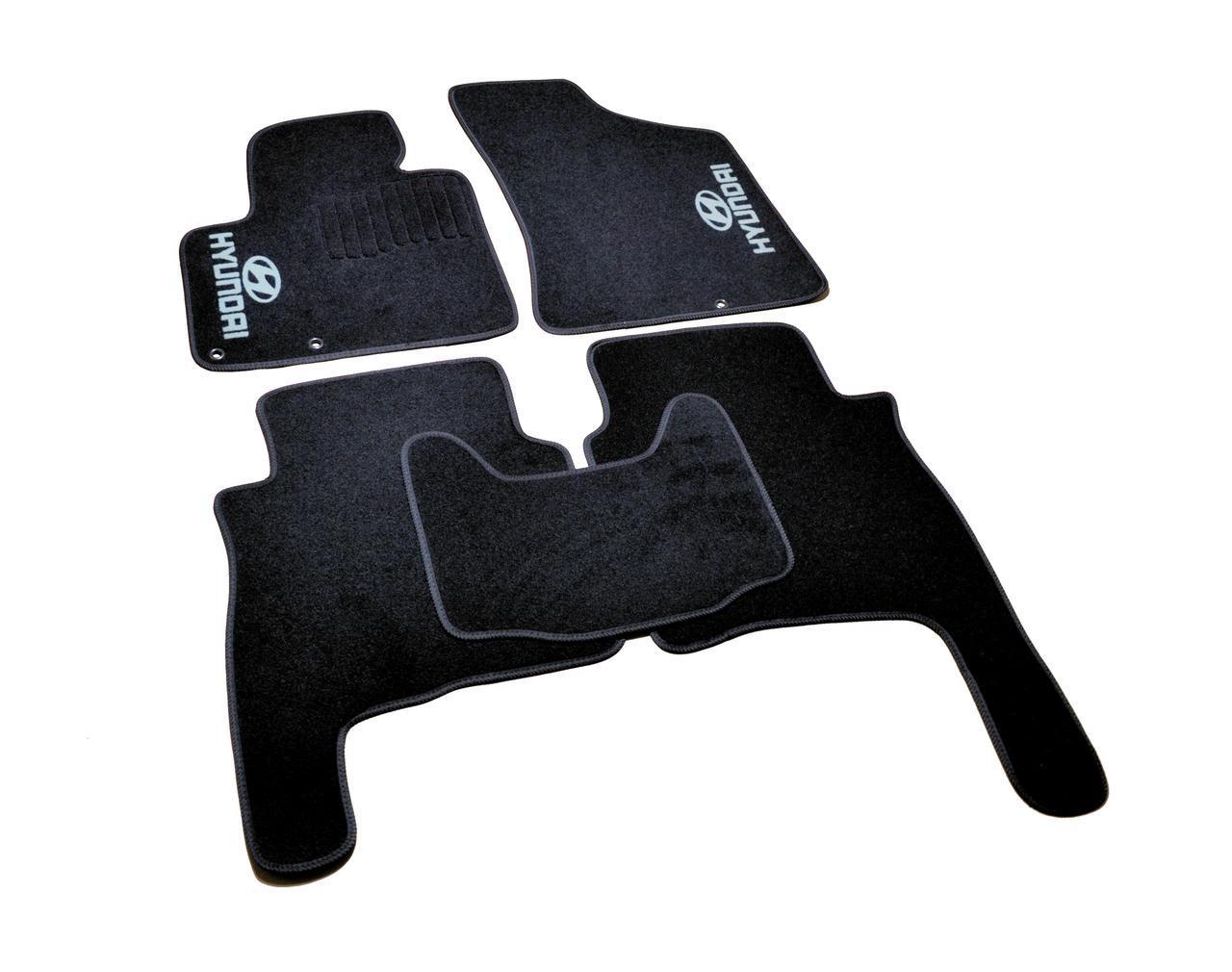 Коврики в салон ворсовые Hyundai Santa Fe (2010-2012)  /Чёрные, кт. 5шт