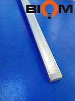 Профиль накладной для led ленты Biom 2 метра анодированный и прозрачный рассеиватель (комплект)