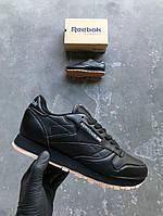Кроссовки Reebok Classic Leather Black/brown. Топ качество. Живое фото! (Реплика ААА+)