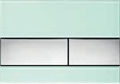 Панель смыва ТЕСЕsquare зеленое стекло, клавиши хром гл.