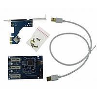 Cплиттер-разветвитель-хаб с 1 порта PCIe 1x на 3 порта PCIe 1x с USB кабелем 3.0 и питнием типа SATA или molex