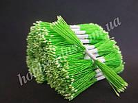 Тайские тычинки, БЕЛЫЕ, мелкие на салатовой нити, 23-25 нитей, 50 головок