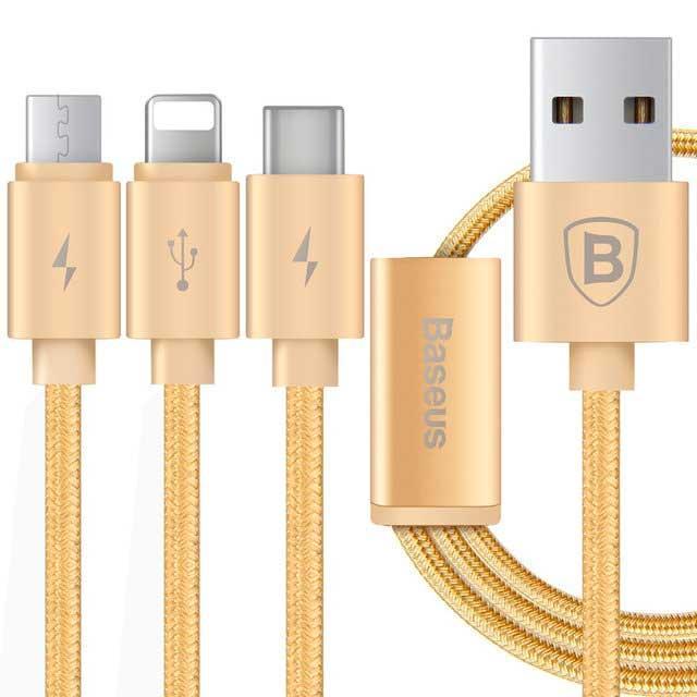 Кабель USB 3 в 1 Lightning  Micro Type - C Baseus Portman Series 1.2M золотой