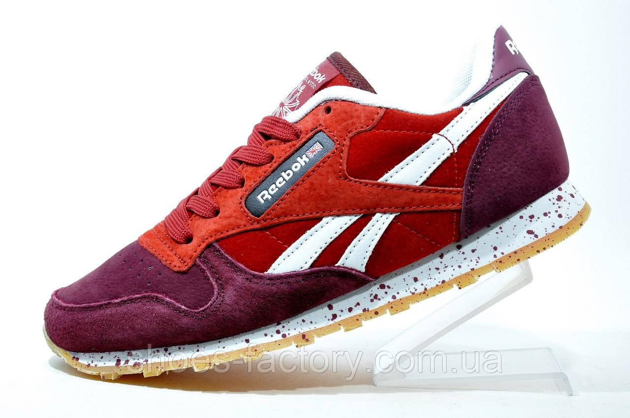 Женские кроссовки в стиле Reebok Classic Leather LS, Бордо\Красный