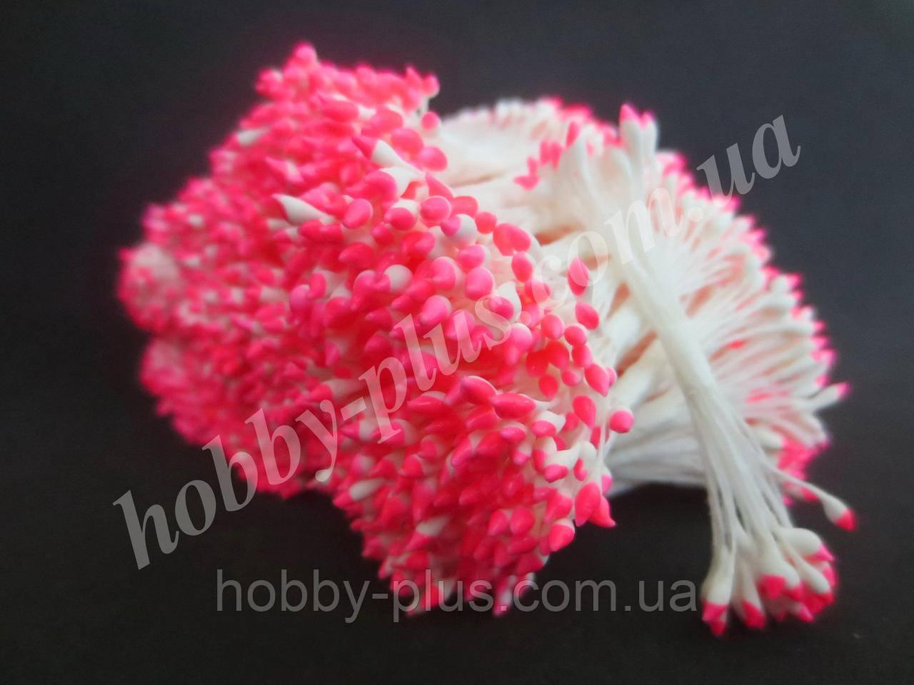 Тайские тычинки, РОЗОВО-БЕЛЫЕ, каплевидные на белой нити,  23-25 нитей, 50 головок