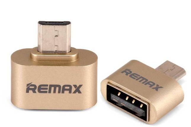 Переходник OTG Micro USB Remax 8-046 золотистый, фото 2