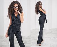 Костюм женский брюки+пиджак без рукавов, материал - костюмная ткань, цвет - черно-серый