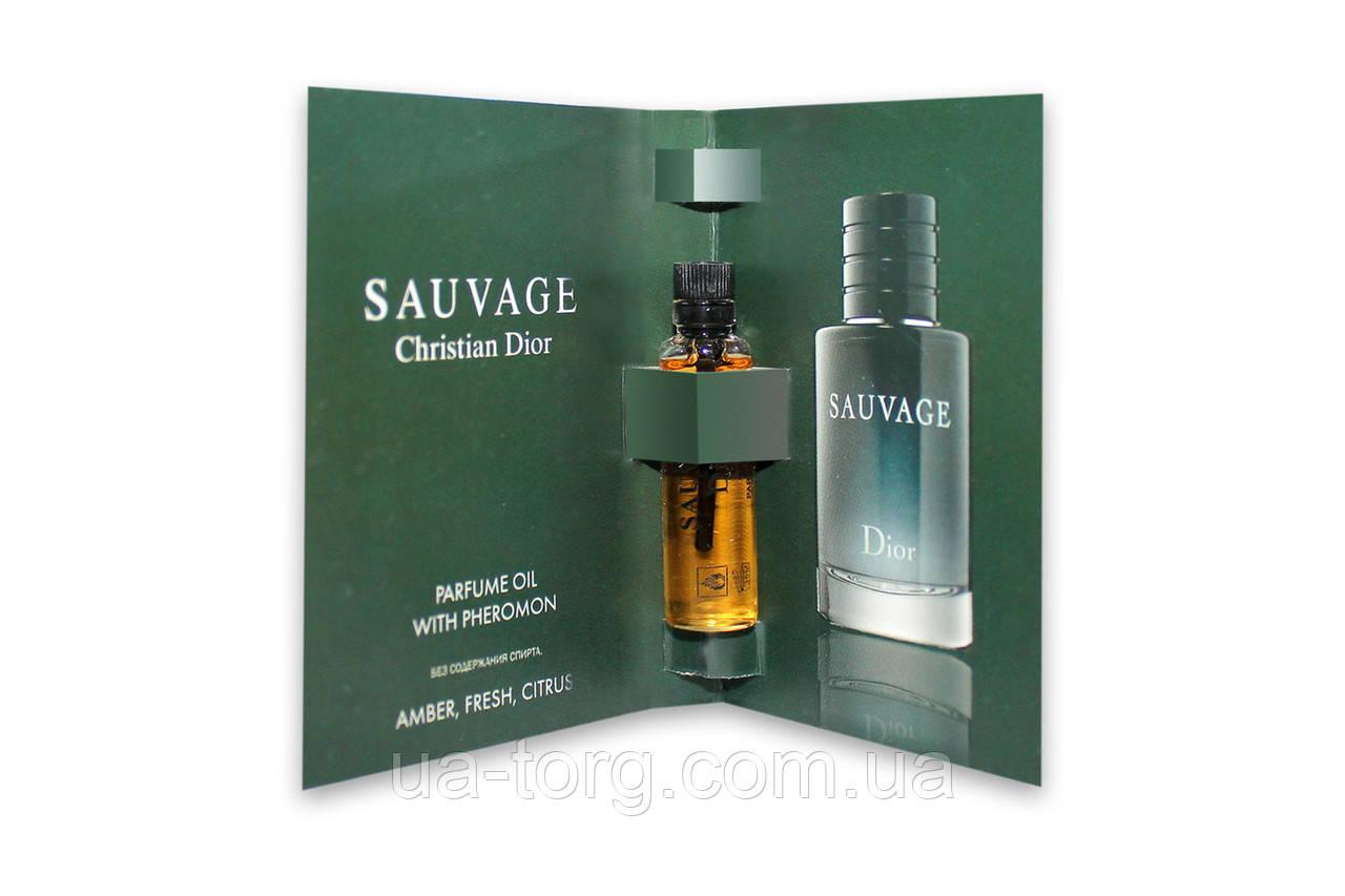 Масляный мини-парфюм с феромонами  Christian Dior Sauvage (Кристиан Диор Саваж), 5 мл