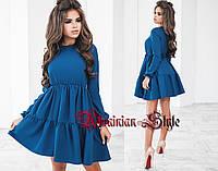 Красивое короткое однотонное трикотажное платье. 4 цвета!