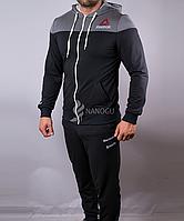 Спортивный костюм мужской Reebok черный с серым на молнии с капюшоном, Черный, M