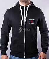 Спортивная кофта мужская на байке Reebok теплая капюшонка черная, Черный, M